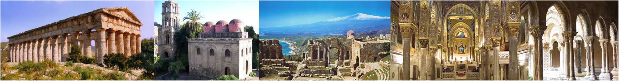 Segesta's Greek temple, San Cataldo Church and Martorana Tower in Palermo, Mt Etna and Taormina's Greek amphitheatre, Palermo's Palatine Chapel, Monreale's cloister.