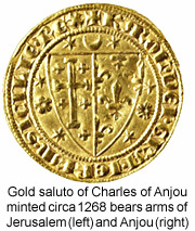 Cross of Kingdom of Jerusalem and fleurs de lis of Anjou on Angevin coin.