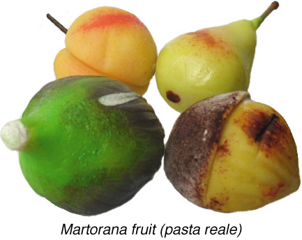 Martorana Fruit, or almond marzipan.